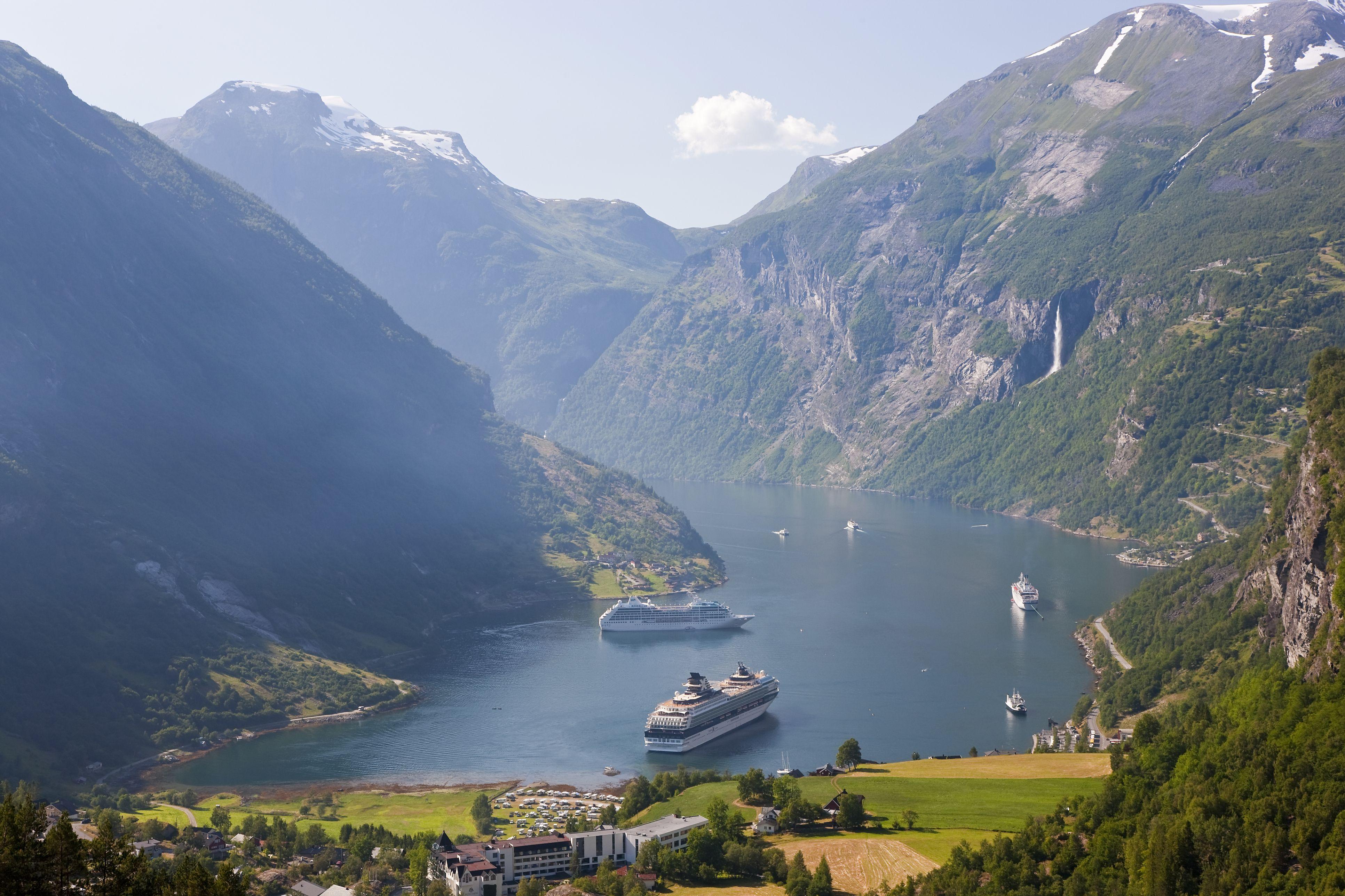 Cruise ships, Geirangerfjord, Norway