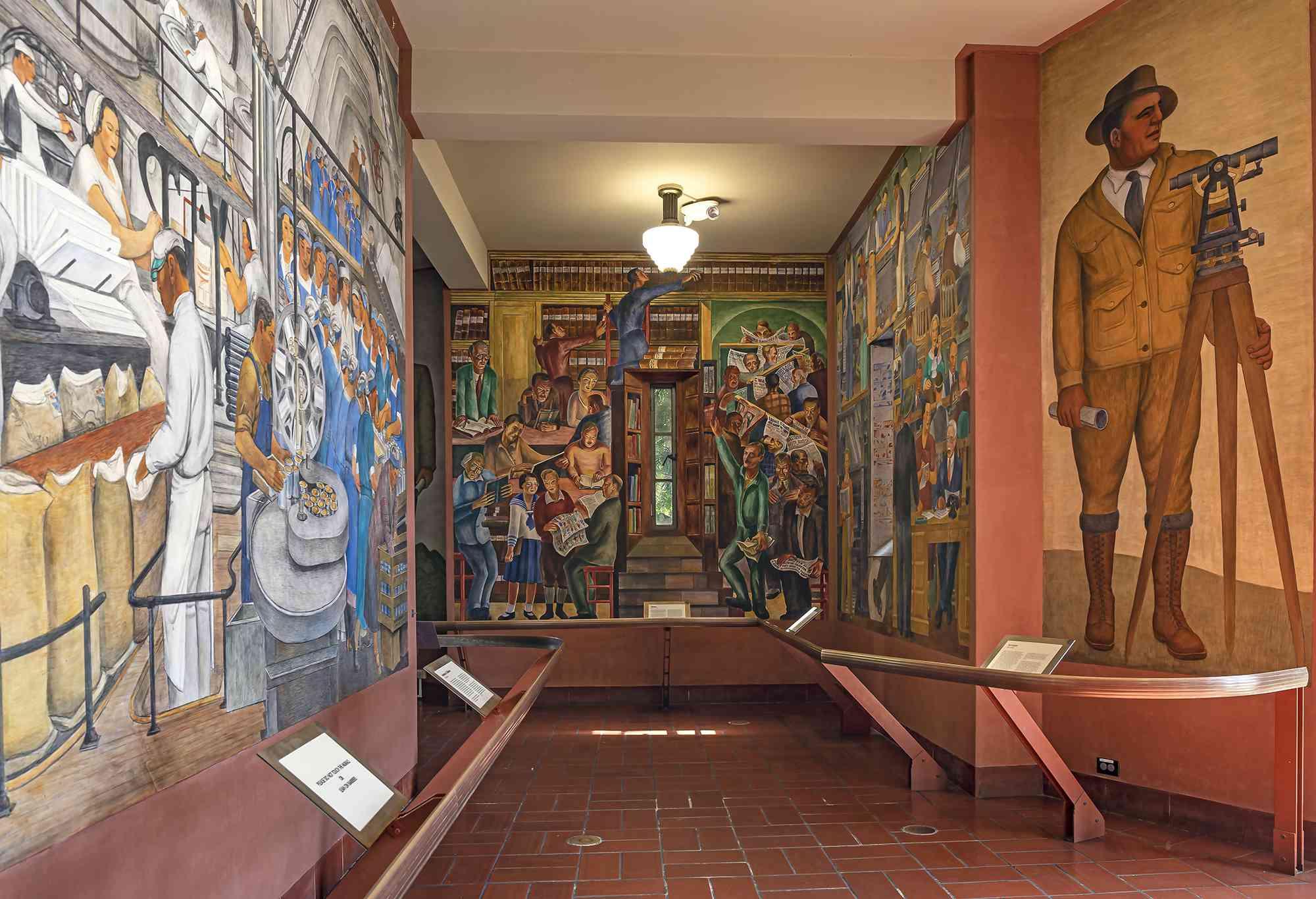 The murals inside Coit Tower
