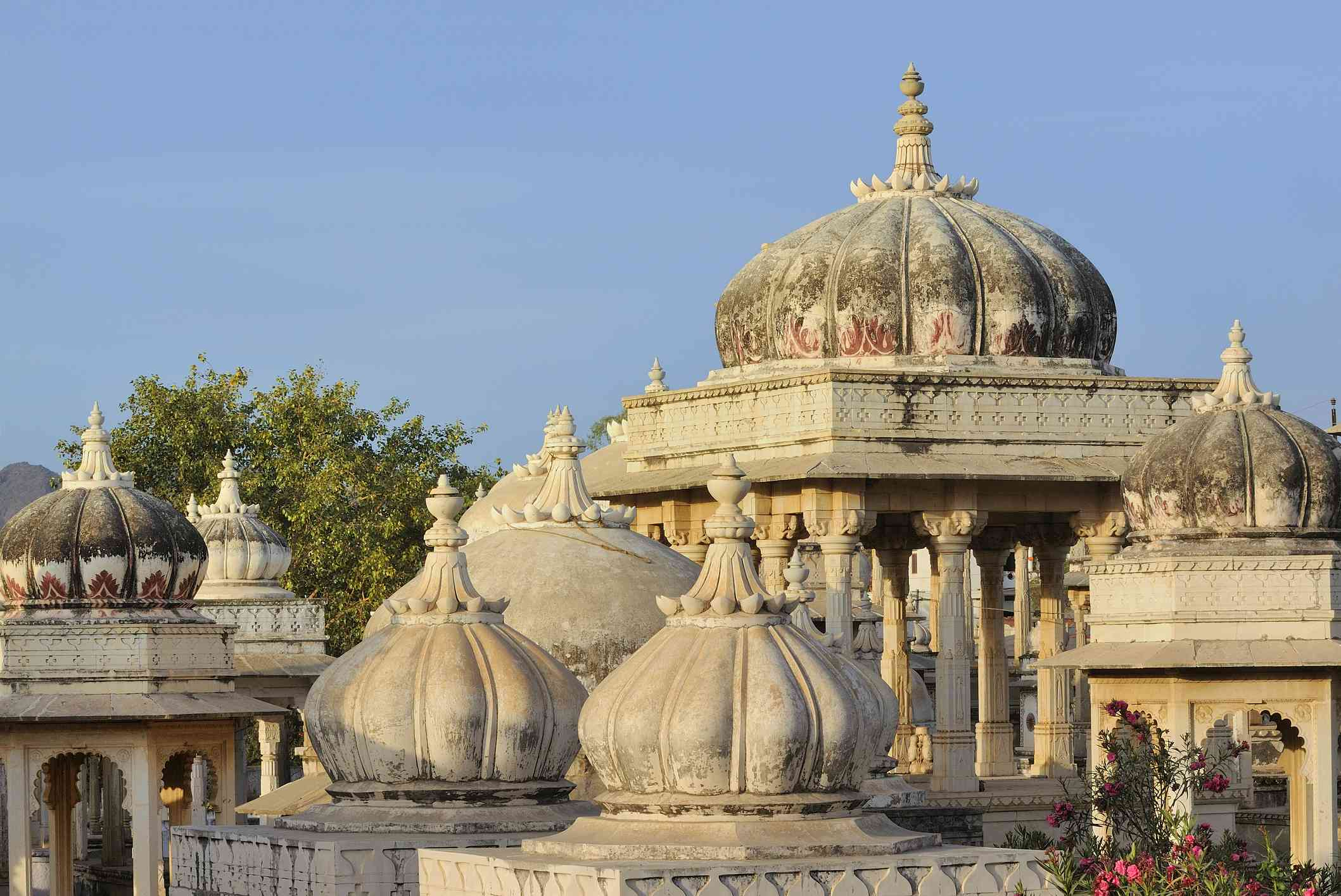 Domed-roofed stone cenotaphs in Udaipur