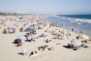 Crowded Santa Monica Beach in Southern California