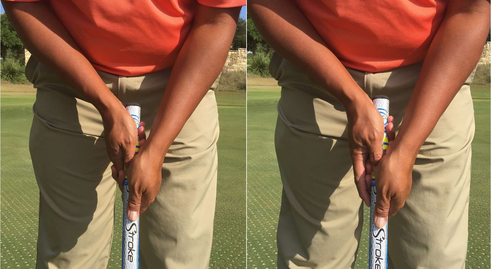 Golfer demonstrating the crosshanded, or left hand low, putting grip.