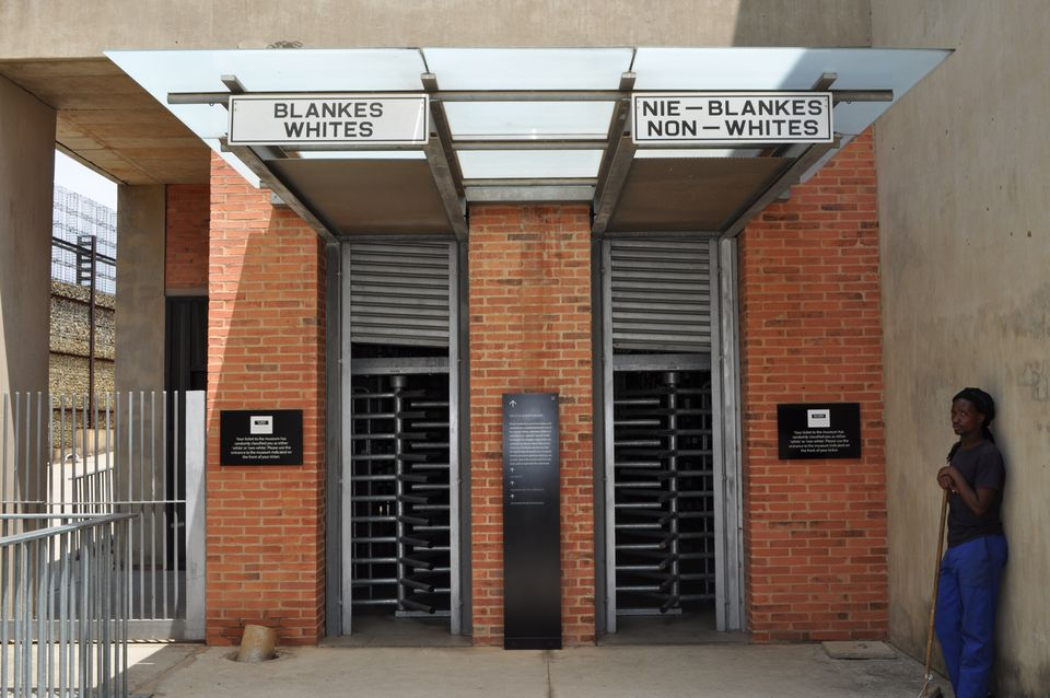The segregated entrance at the Apartheid Museum, South Africa