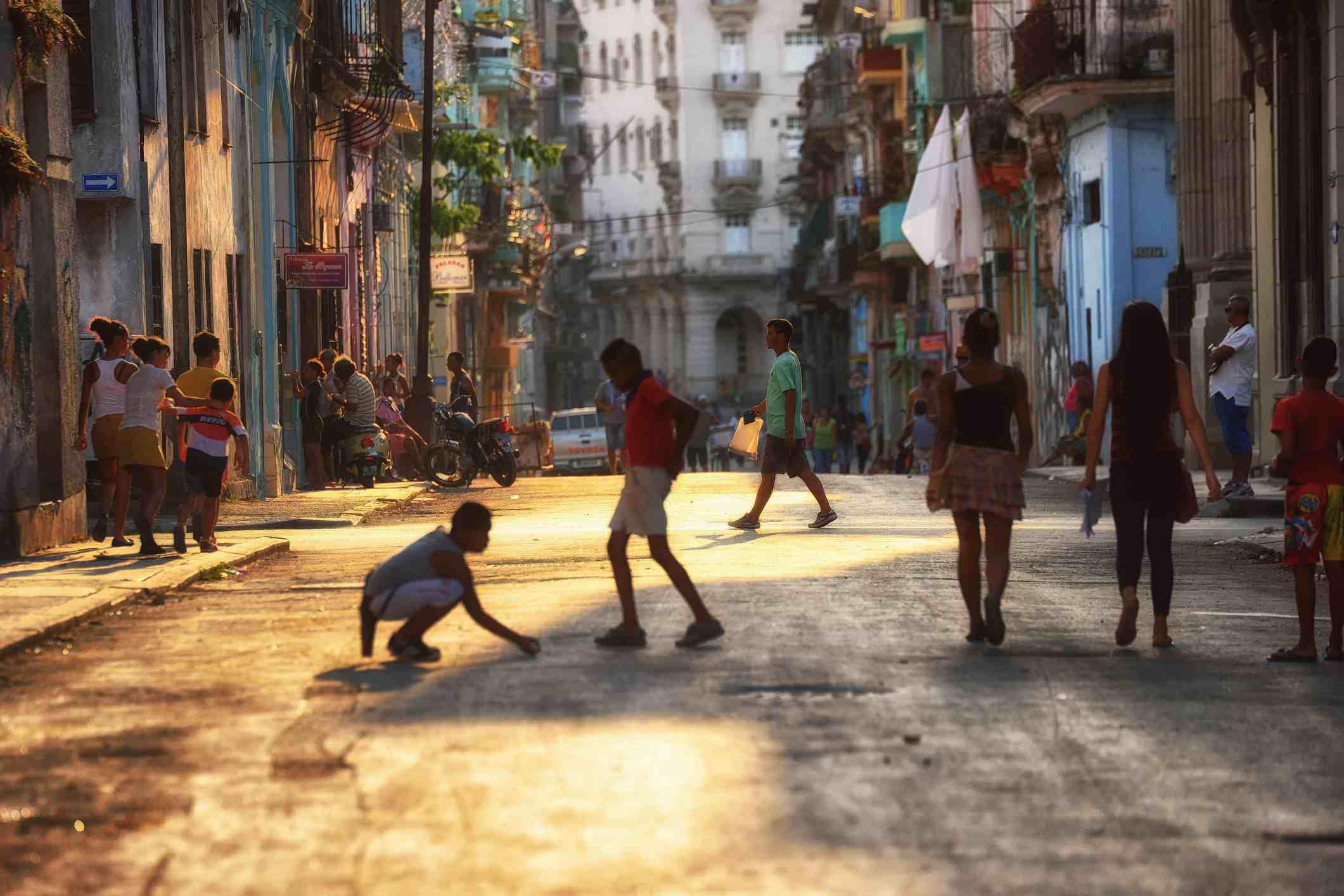 Kids playing in Centro Havana neighbour in Havana, Cuba