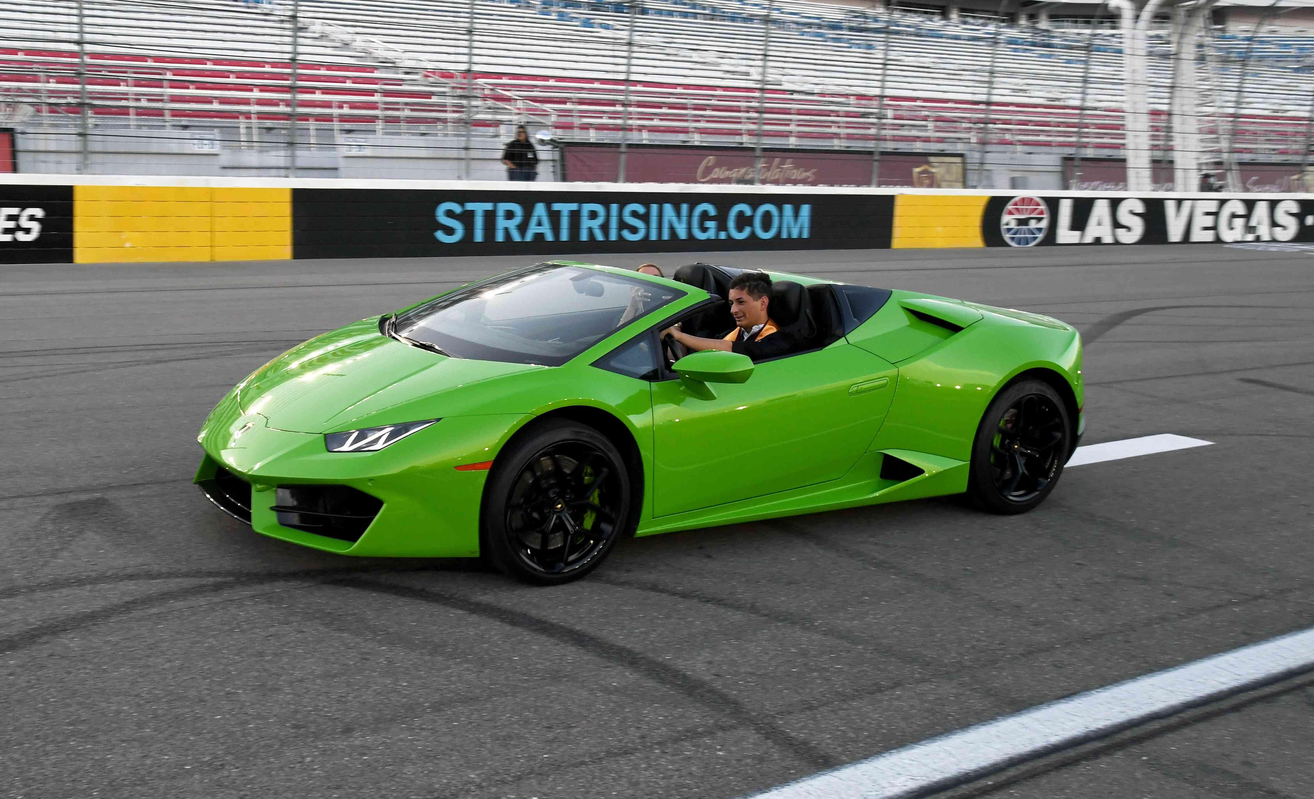 Speed Vegas track with luxury car