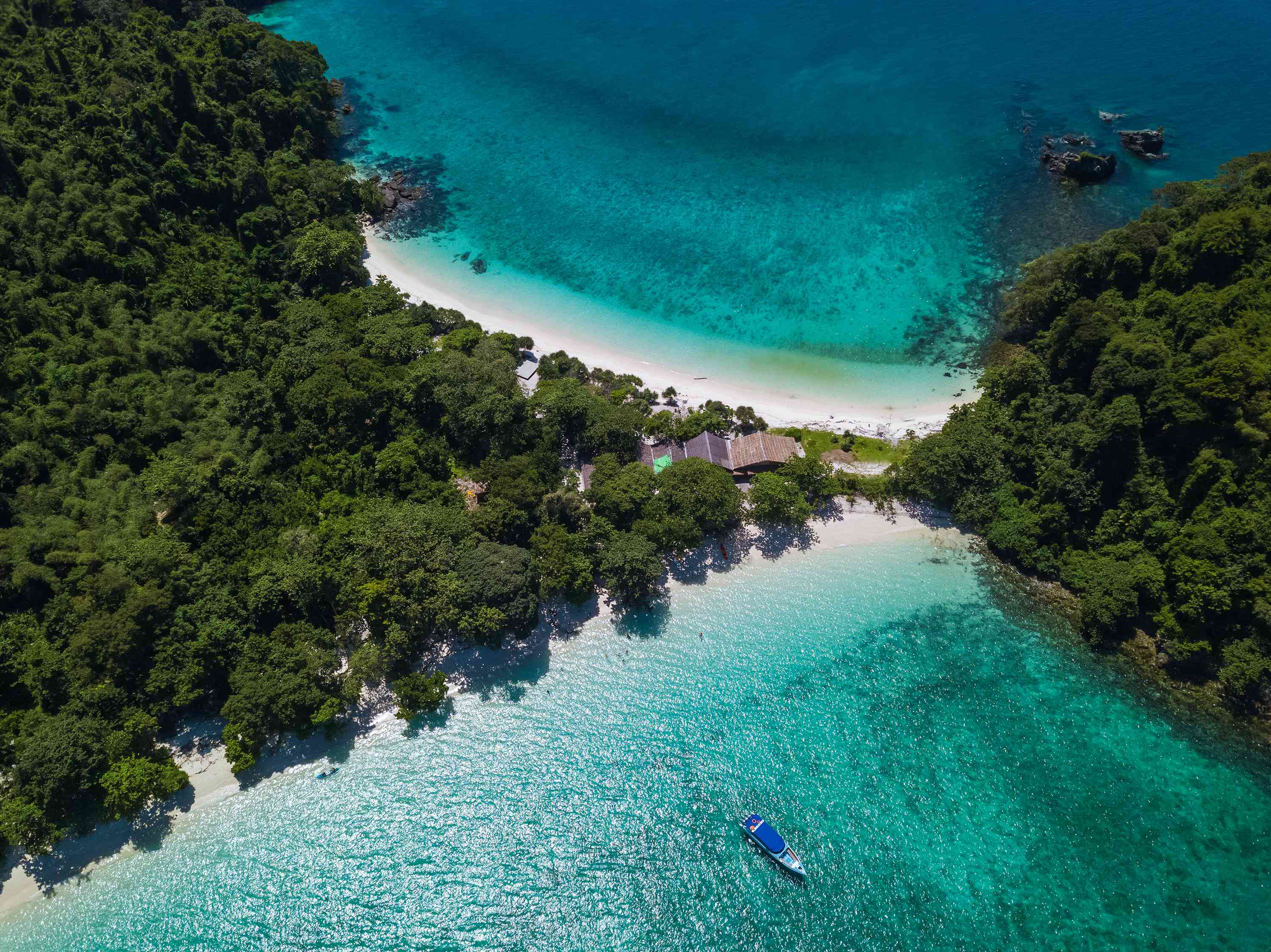 Arial view from above of Twin Beach Mergui Island or Bruer island, seascape landscape view from the sky