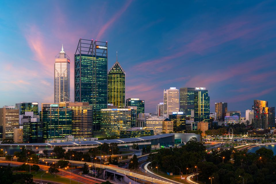 Downtown Perth city skyline at twilight in Western Australia, Australia.
