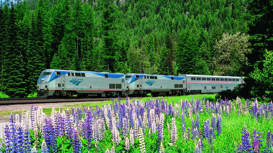 Amtrak train in spring