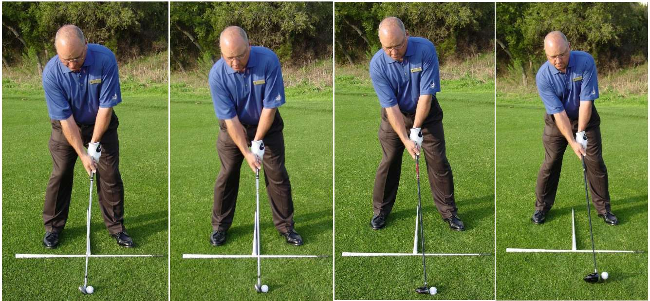 Golf setup positions with different lengths of clubs