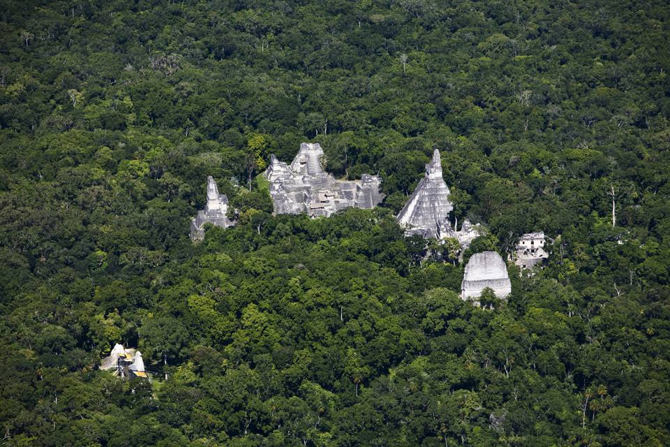Aerial view of the Tikal archeological site