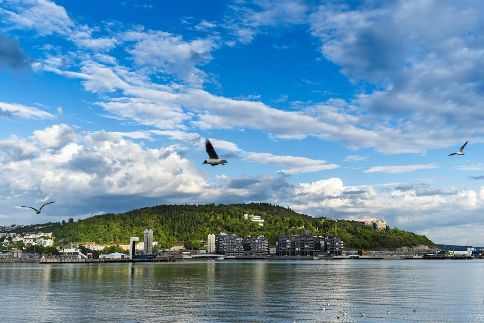 View of Ekeberg from harbour, Oslo, Norway.