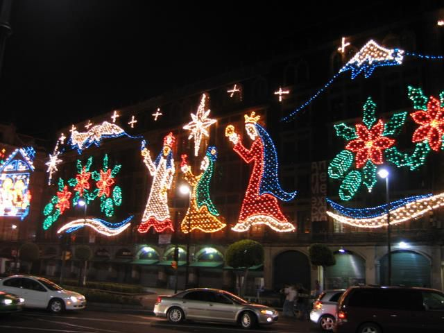 It's not a full nativity scene, but I like the three kings shown in Christmas lights. These were part of the elaborate Christmas decorations in the Mexico ...