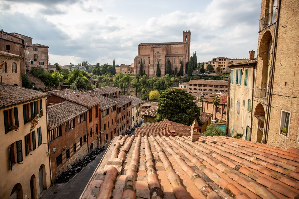 View of rooftops in Siena