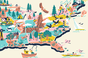 Illustration of outdoor activities along the east coast