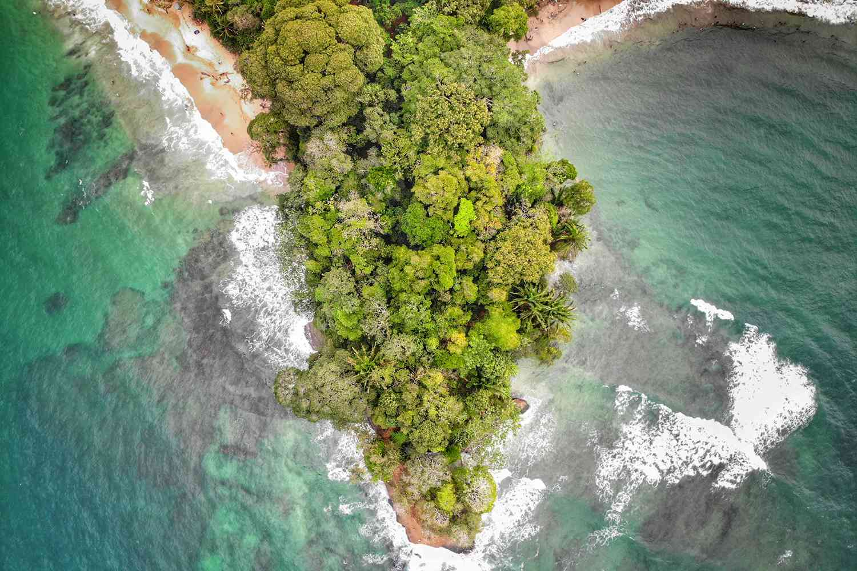 An aerial view of Playa Punta Uva Arricife in Costa Rica