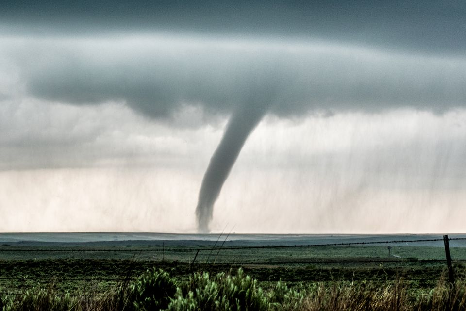 Scenic tornado approaching the town of McLean, Texas, USA