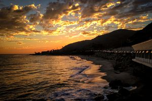 Beautiful sunset on coast of California