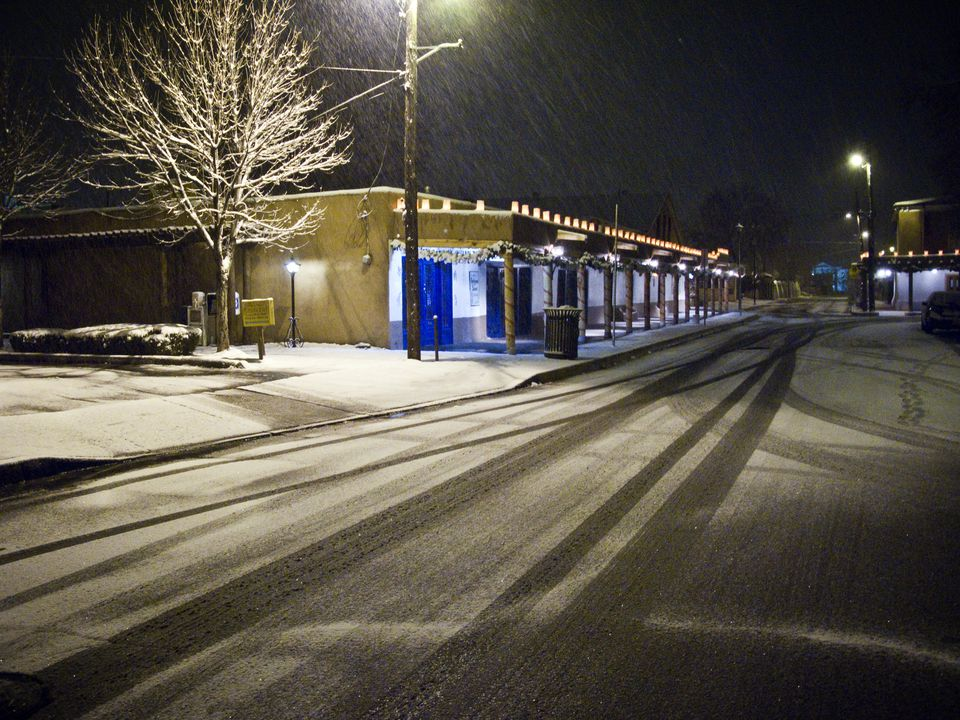 Winter snow in street of Old Town, Albuquerque