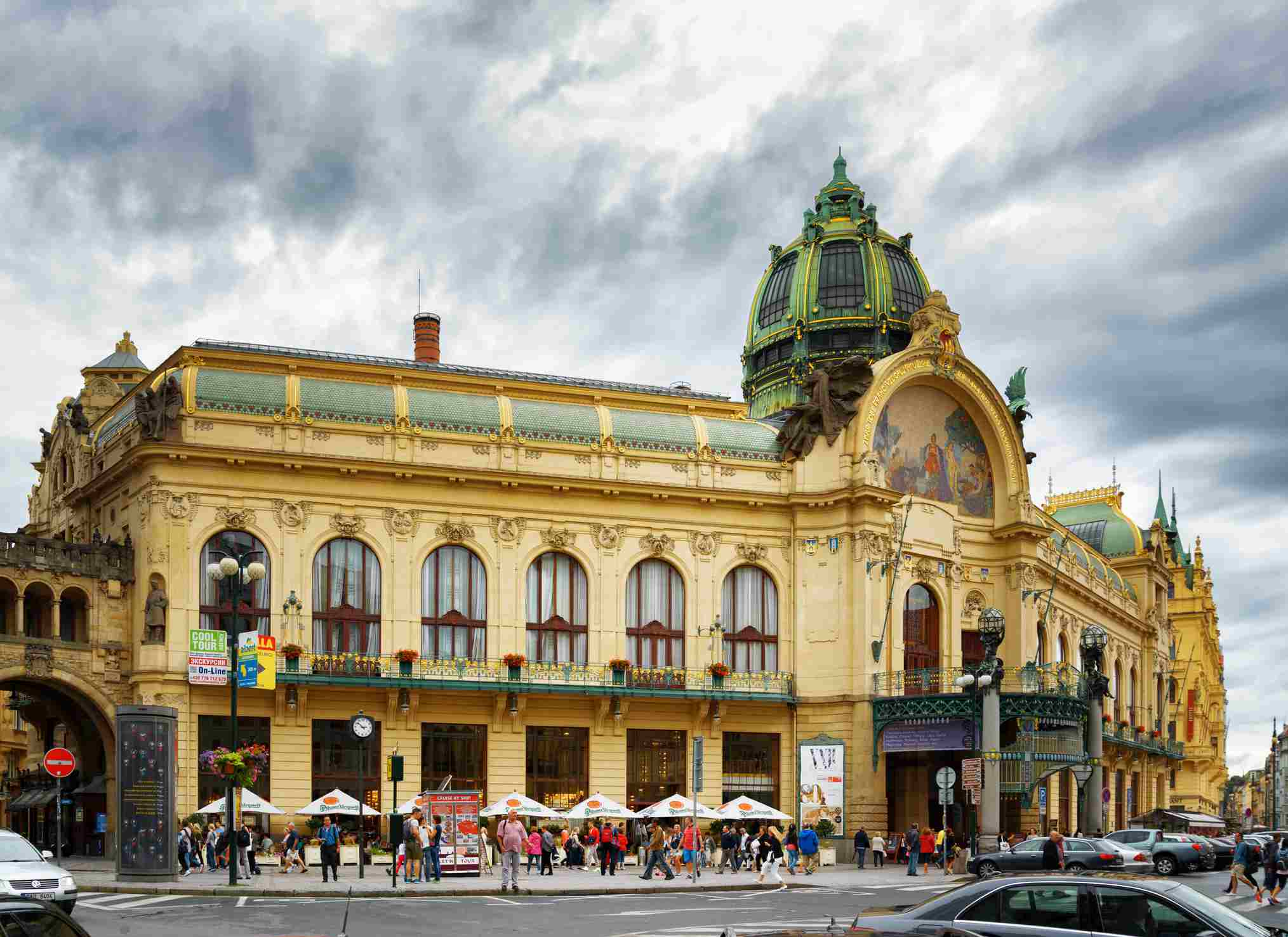 View of Municipal House at the Republic Square in Prague.
