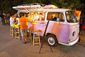 Vintage pink Volkswagen Bus Chiang Mai, Thailand
