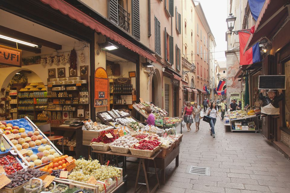 A market street in Bologna