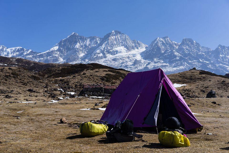 A small camp at Dzongri, a destination on the popular Goecha La trek within Kanchendzonga National Park, Sikkim, India