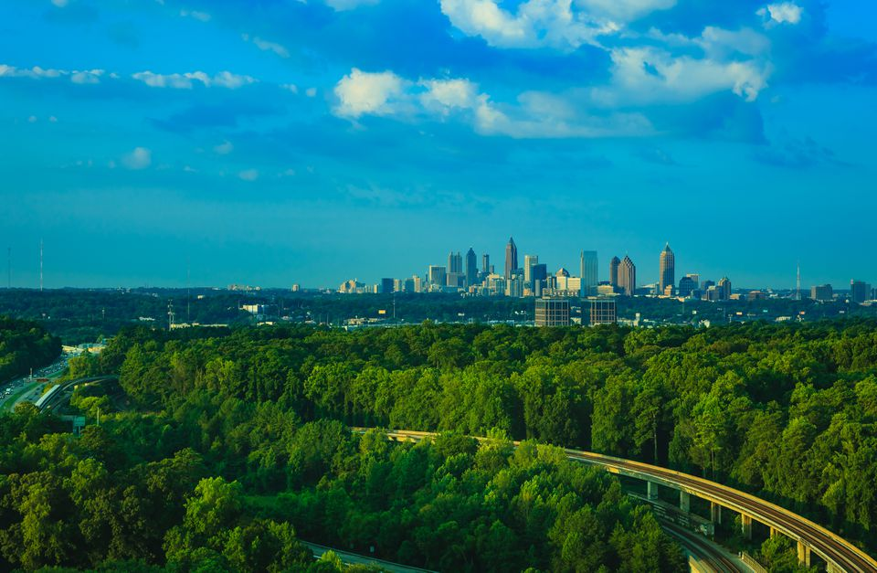 Atlanta skyline and MARTA tracks