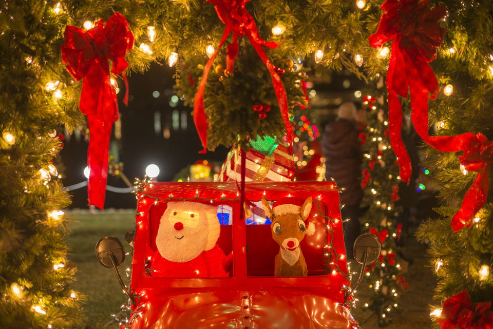 USA, Maine, Kennebunkport, town's public Christmas decorations with Santa Claus