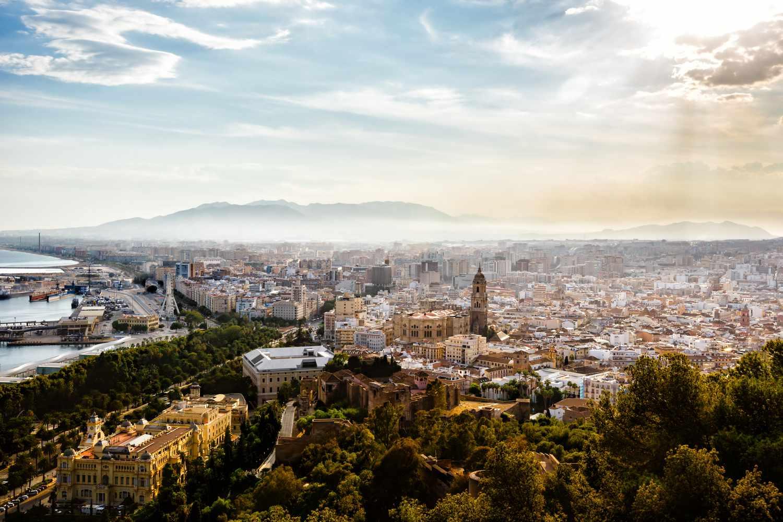 View from Gibralfaro Castle in Malaga, Spain