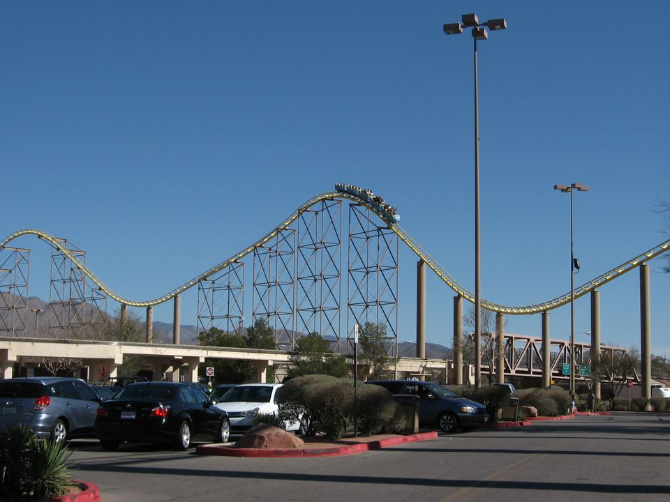 Desperado roller coaster hills seen from parking lot