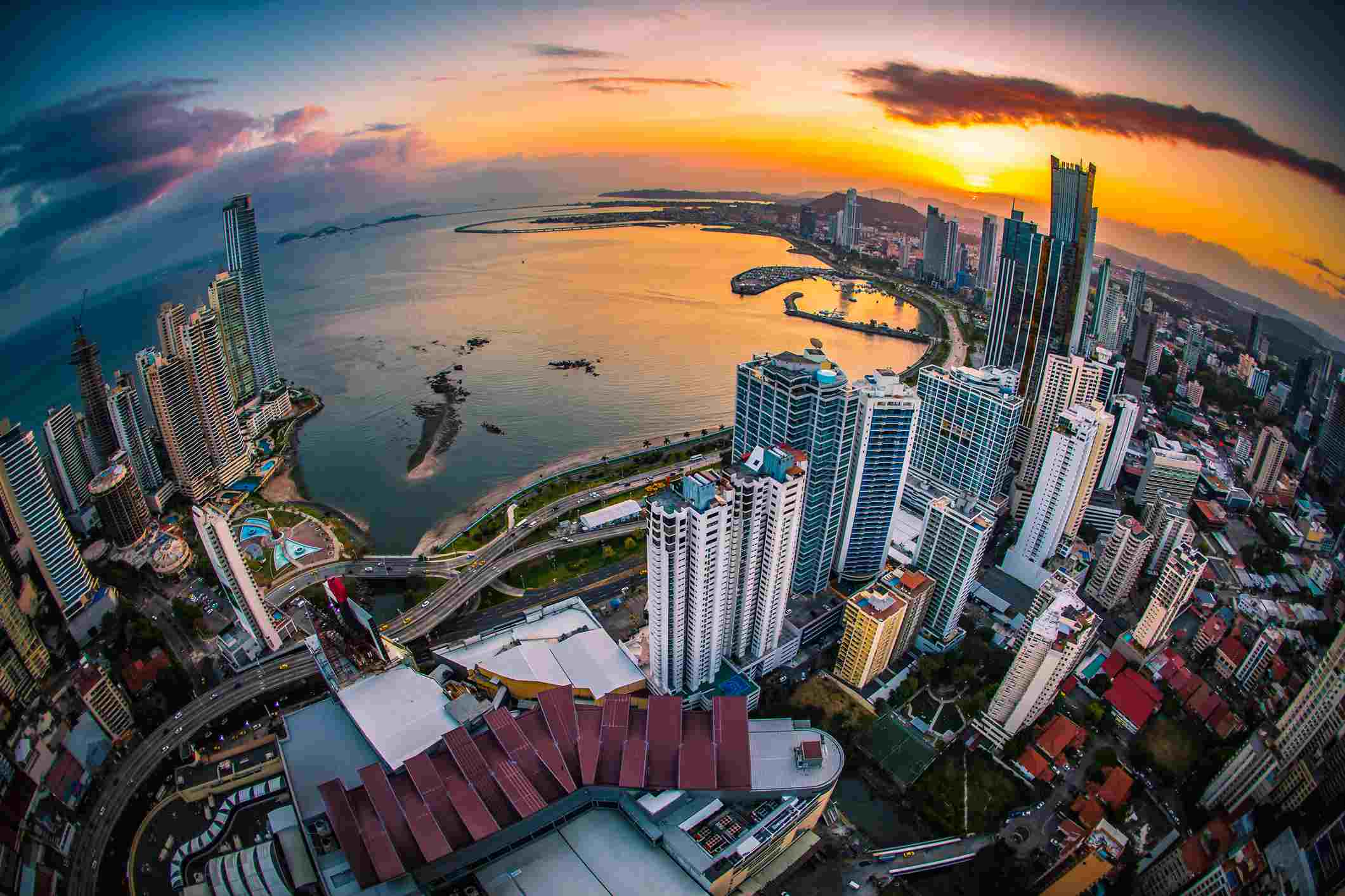 Aerial view over Panama City