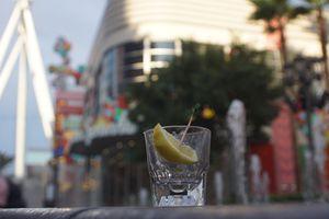 empty tequial shot in shot glass in las vegas