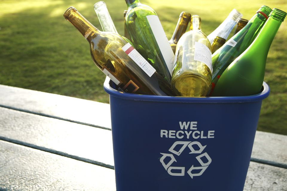Glass wine bottles in a recycling bin