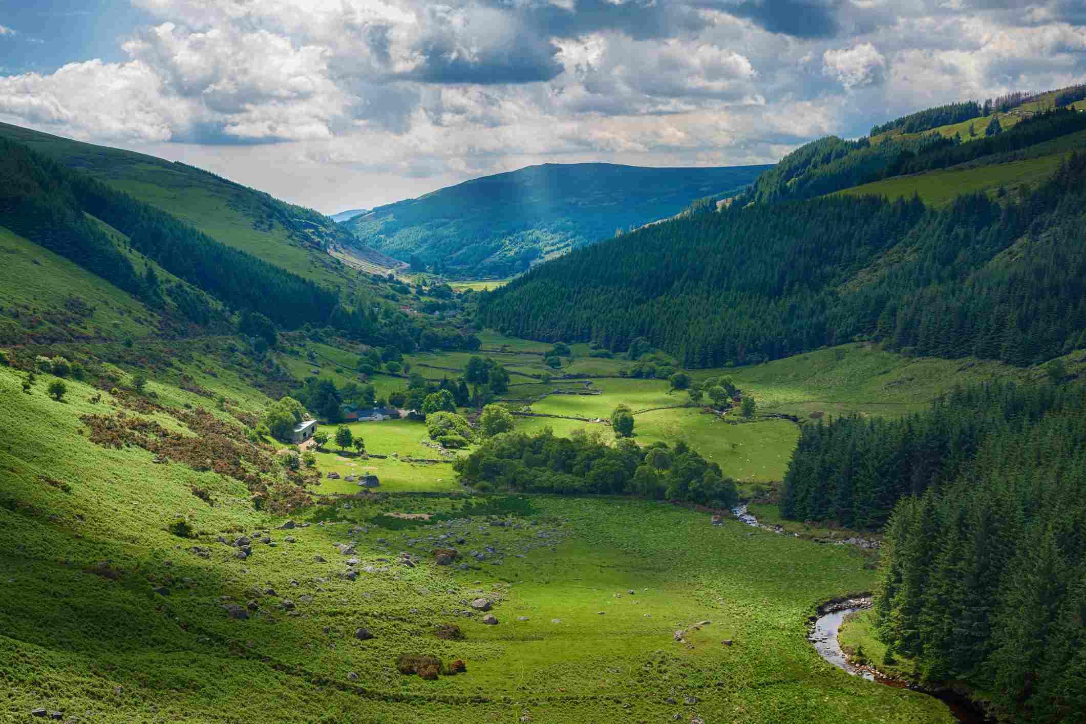 Glenmacknass valley in County Wicklow, Ireland