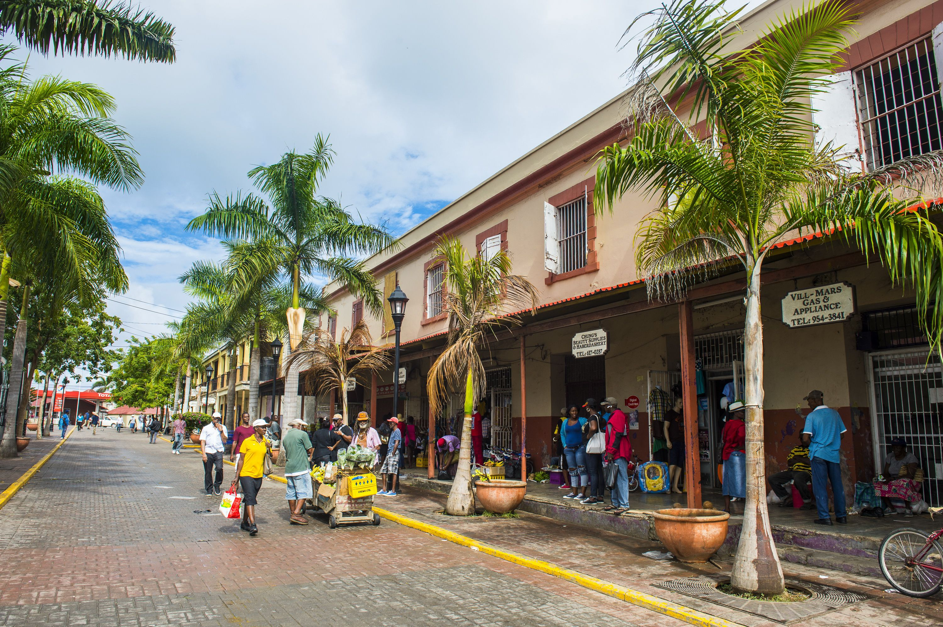 Shop-lined street in Falmouth, Jamaica