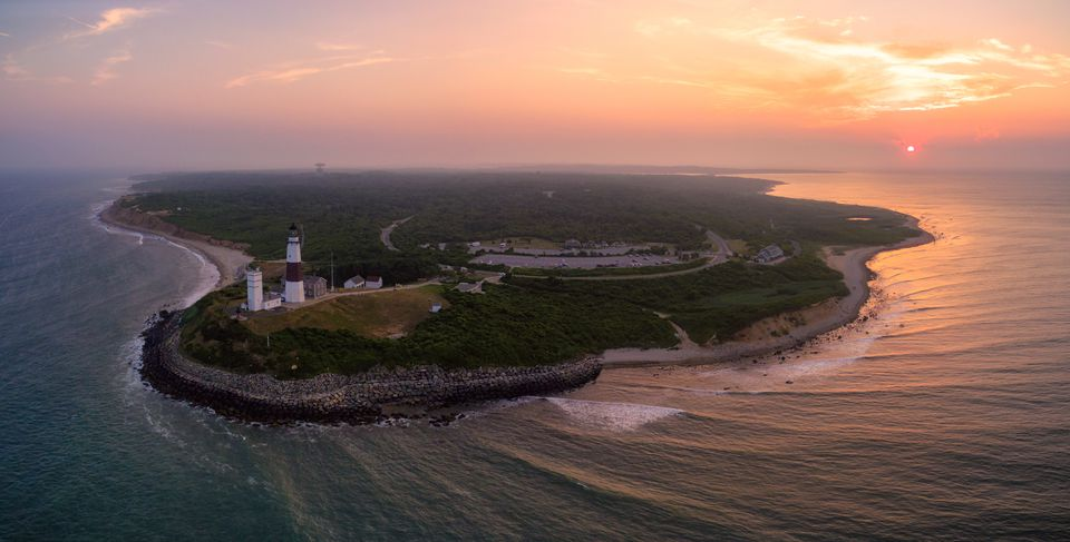 Aerial view of Montauk Point Long Island New York
