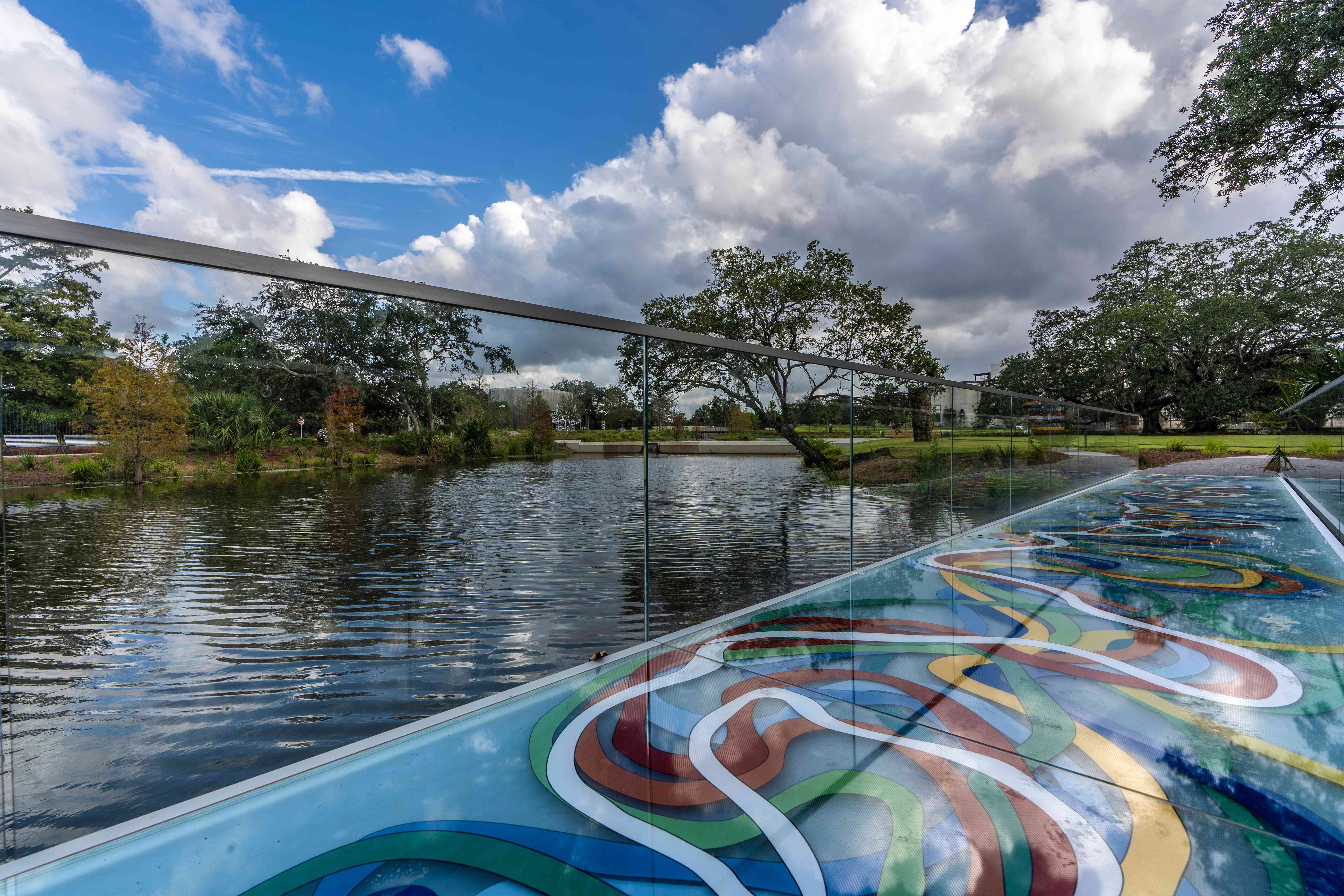 colorful over-water walkway in a New Orleans Park