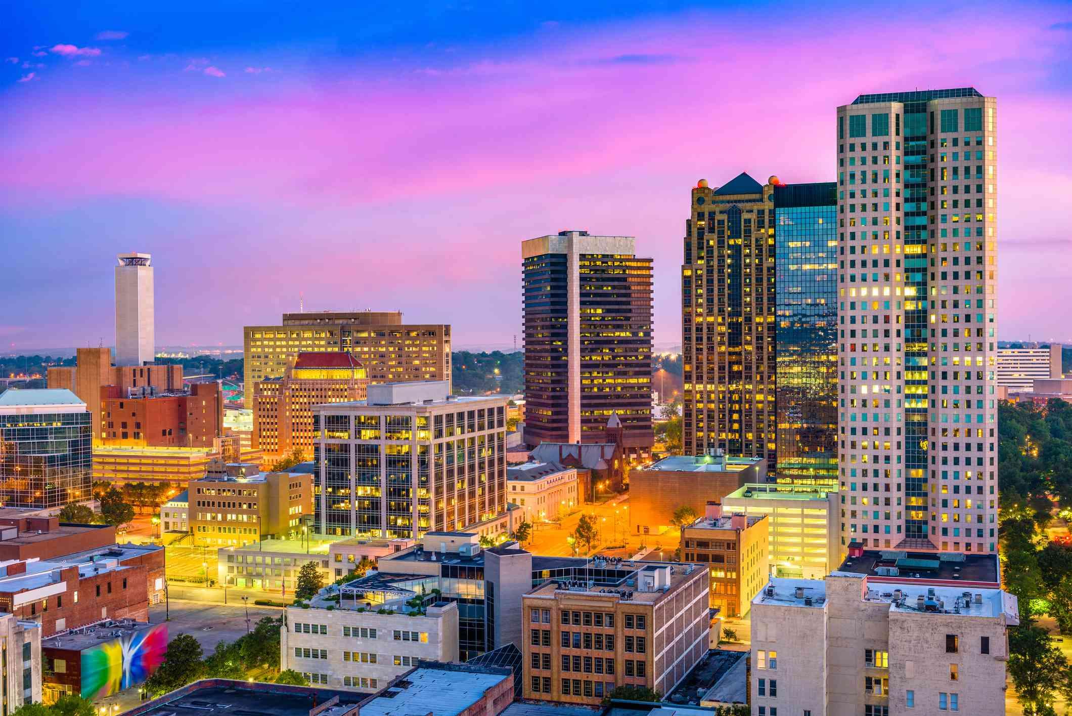 Birmingham, Alabama Skyline at sunset