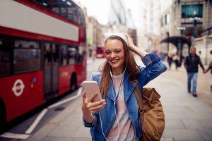 Woman taking a selfie in London