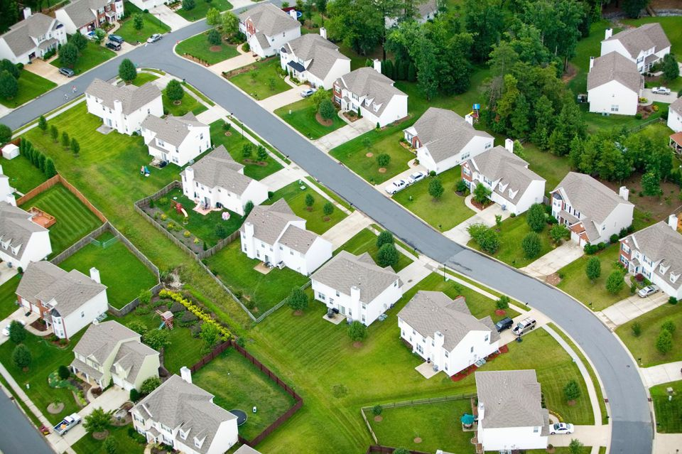 'Aerial view of housing development in Charlotte, North Carolina'