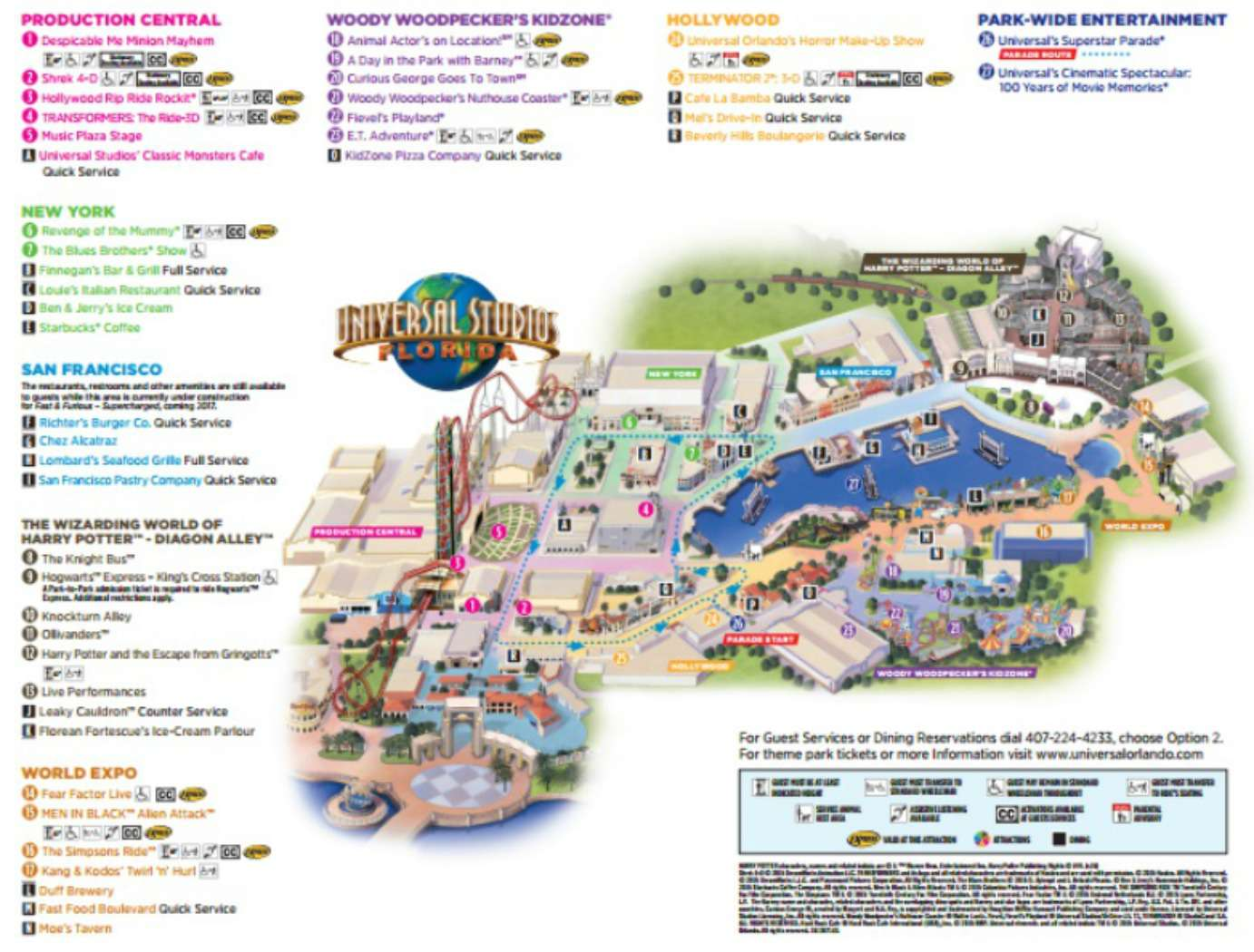 Maps of Universal Orlando Resort\'s Parks and Hotels