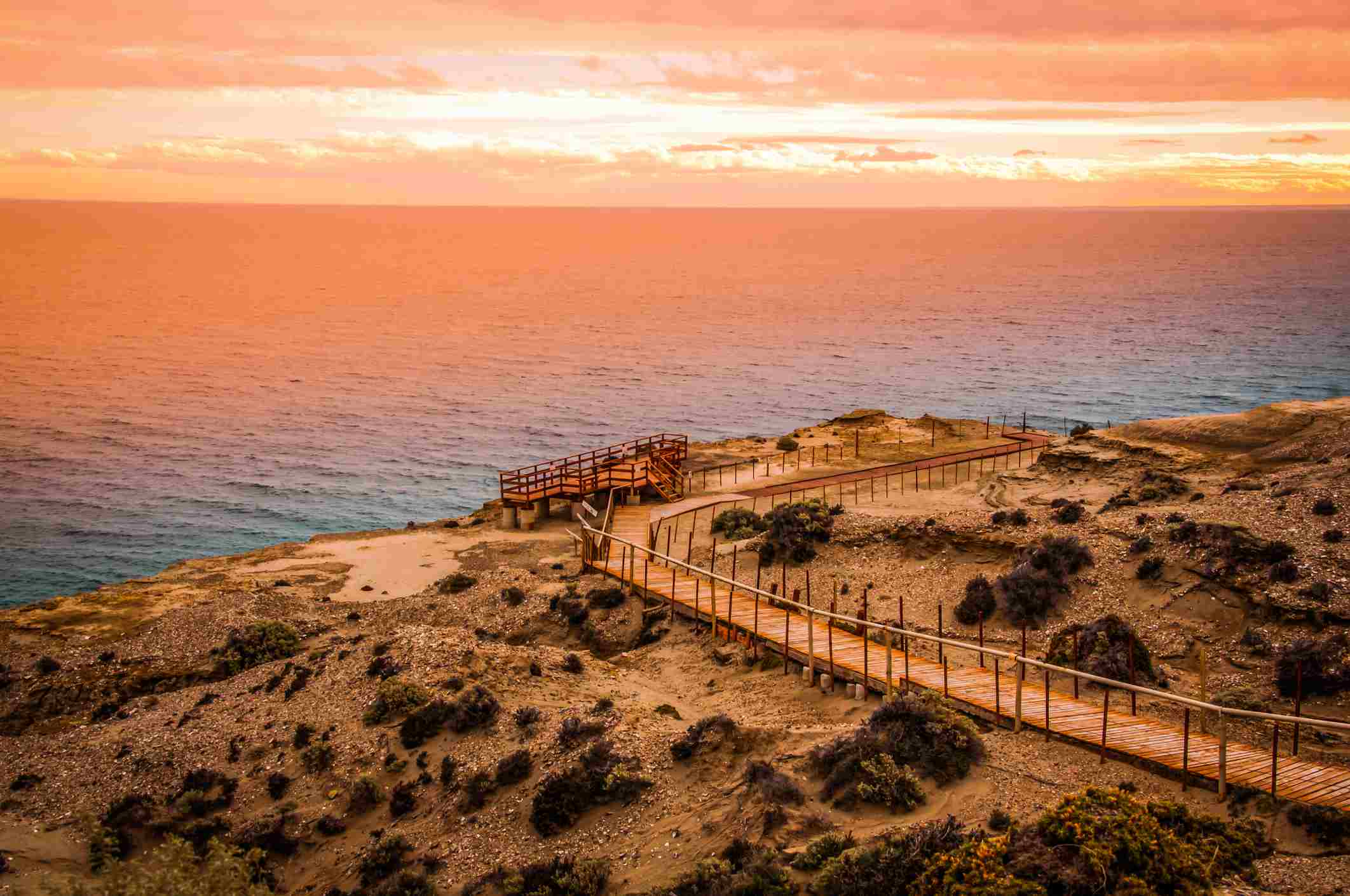 View Of Sea Against Sky During Sunset, Puerto Madryn, Argentina