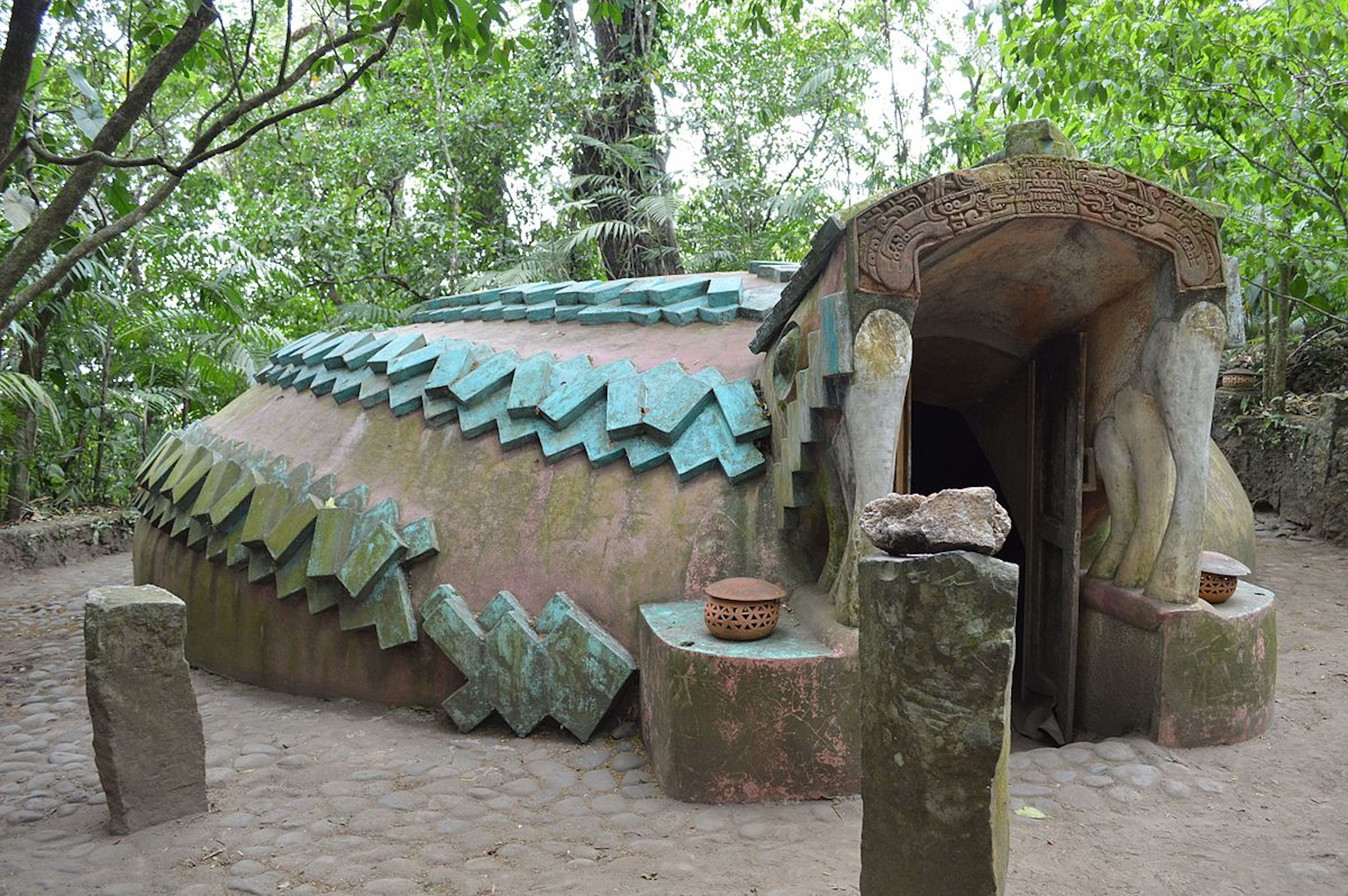 Snake-shaped temazcal in Mexico