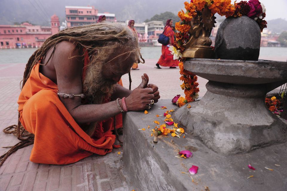 Holy man praying at Haridwar.