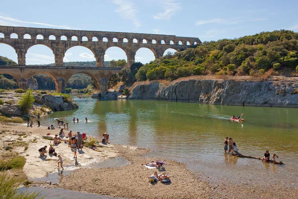 The famous Pont du Gard bridge in Nimes, France