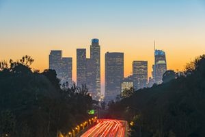 Road to Los Angeles with skyscrapers