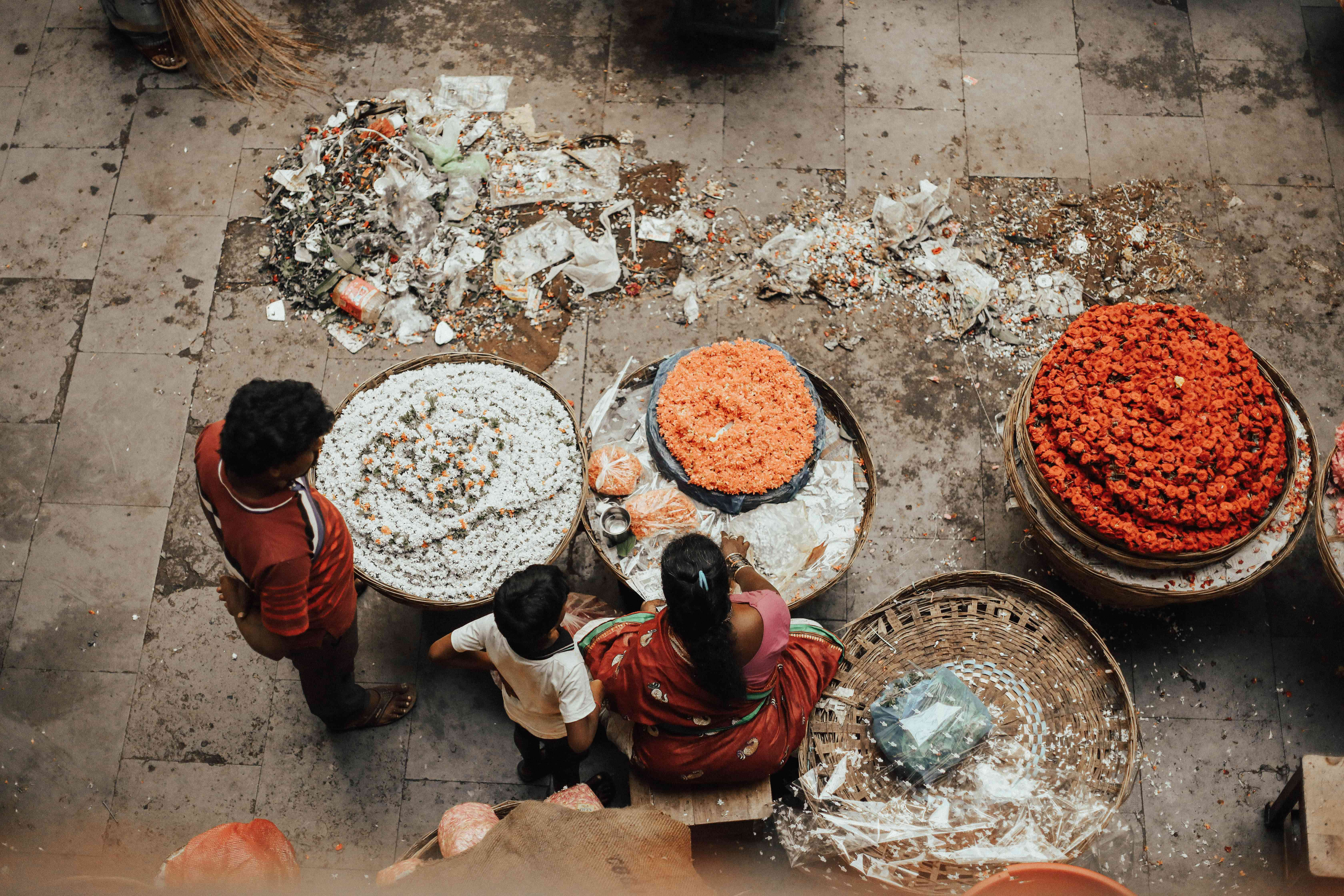 Aerial view of a vendor in the Bangalore Market
