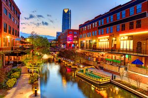 Evening view of the Bricktown Canal in Oklahoma City. Bricktown is an entertainment district just east of downtown Oklahoma City, Oklahoma