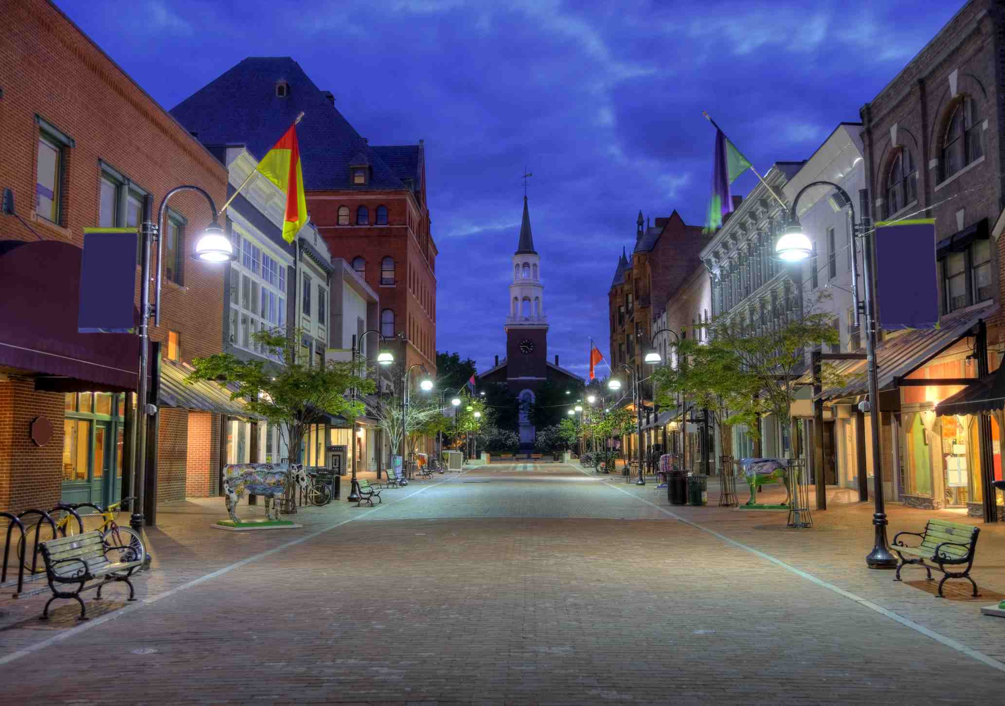 Church Street Marketplace in Burlington is lined with historic buildings, fountains, and a brick-paved pedestrian mall