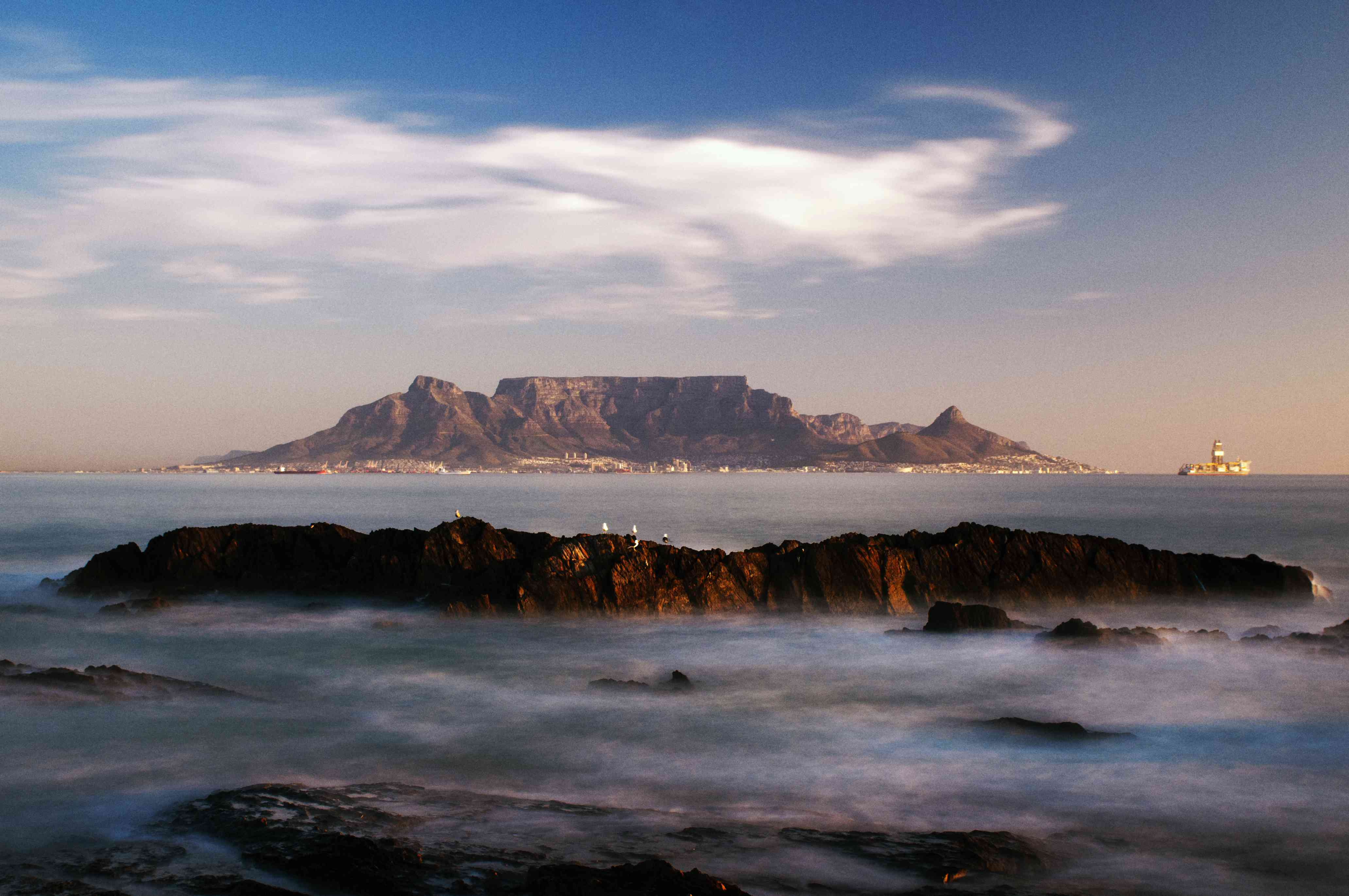 Sunset view of Table Mountain from Bloubergstrand