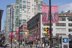 A street view of Vancouver's Yaletown neighbourhood at Davie and Mainland on a spring morning.